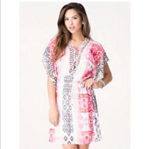 Bebe Jewel Lace Up Kaftan Dress